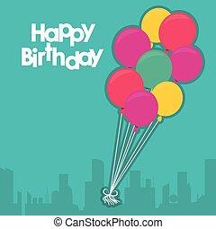 μπαλόνι, γενέθλια, σχεδιάζω, ευτυχισμένος