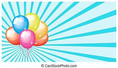 μπαλόνι, εορταστικός, σημαία, ξαφνική δυνατή ηλιακή λάμψη