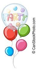 μπαλόνι , λέξη , γραφικός , πάρτυ