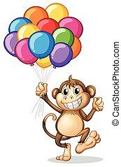 μπαλόνι , μαϊμού , γραφικός , κράτημα