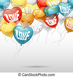 μπαλόνι , σχήμα , ιπτάμενος , heart., φόντο