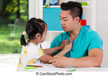 μπαμπάς , διερευνώ , κορίτσι , ασιάτης , αυτήν