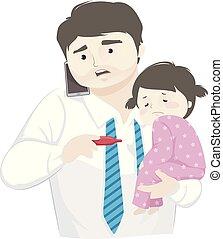 μπαμπάς , δουλειά , εικόνα , άρρωστος , κορίτσι , παιδί