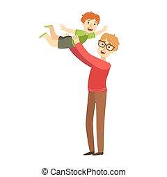 μπαμπάς , μικρός , ειδών ή πραγμάτων , ρίψη , σειρά , αέραs , εικόνα , υιόs , ευτυχισμένος , τρυφερός