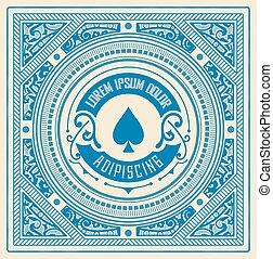 μπαρόκ , κορνίζα , με , κεντρικός , logo., πόκερ , αφορμή