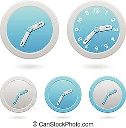 μπλε , άσπρο , μοντέρνος , clocks, απομονωμένος