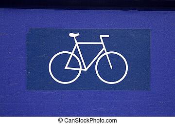 μπλε , άσπρο , ποδήλατο , σήμα