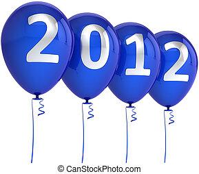 μπλε , έτος , καινούργιος , μπαλόνι , χριστούγεννα , 2012