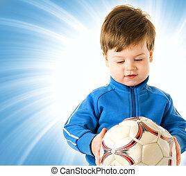 μπλε , αγόρι , μπάλα , πάνω , φόντο , ποδόσφαιρο , αφαιρώ , ωραία