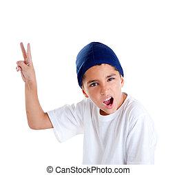 μπλε , αγόρι , σκούφοs , χέρι , νίκη , πορτραίτο , χειρονομία , παιδί