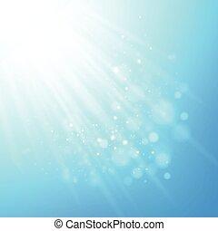 μπλε , ακτίνα , light., θολός , bokeh, μικροβιοφορέας , φόντο
