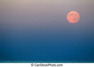 μπλε , ανατέλλω , επάνω , θάλασσα , φεγγάρι