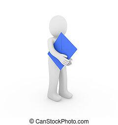 μπλε , ανθρώπινος , γράμμα , 3d