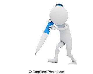 μπλε , απομονωμένος , μολύβι , άσπρο , 3d , άντραs