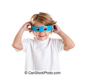 μπλε , αστείος , παιδί , ευτυχισμένος , παιδιά , ακαταλαβίστικος , γυαλιά