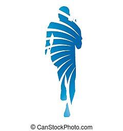 μπλε , αφαιρώ , runner., ακτίνα , μικροβιοφορέας