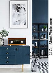 μπλε , βγάζω κλαδιά , ράφι , μέταλλο , βάζο , γυαλί , retro , φόντο , ζωγραφική , ραδιόφωνο , ντουλάπι