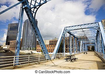μπλε , γέφυρα , καταρράκτης , μεγαλειώδης