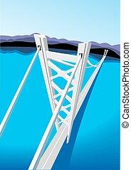 μπλε , γέφυρα , μακριά , θάλασσα