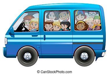 μπλε , γεμάτος , βαγόνι αποσκευών , παιδιά