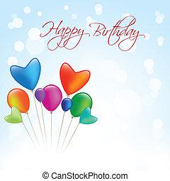 μπλε, γενέθλια, κάρτα, ευτυχισμένος