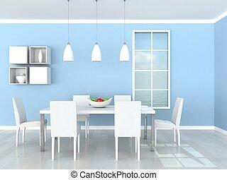 μπλε , γεύμα , μοντέρνος δωμάτιο