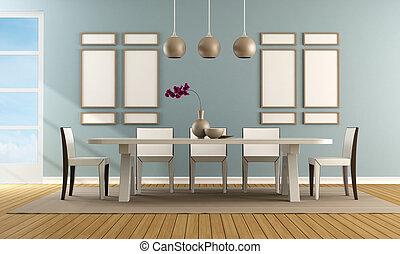 μπλε , γεύμα , σύγχρονος , δωμάτιο