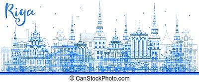 μπλε , γραμμή ορίζοντα , riga , περίγραμμα , landmarks.