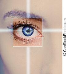 μπλε , γυναίκα άποψη , τεχνολογία , concept., εστία , closeup , φάρμακο , όραση , eye.
