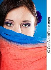 μπλε , γυναίκα , αυτήν , σάλι , ζεσεεδ , ακατέργαστο δέρμα ή προβιά