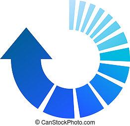 μπλε , διαδικασία , βέλος