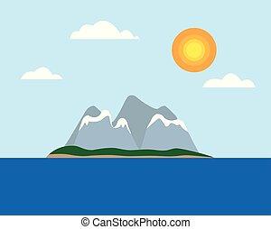 μπλε , διαμέρισμα , θαμπάδα , ανήφορος , χιονάτος , νησί , - , τροπικός , μέσο , σχεδιάζω , θάλασσα , κάτω από , ήλιοs , βουνά , ουρανόs