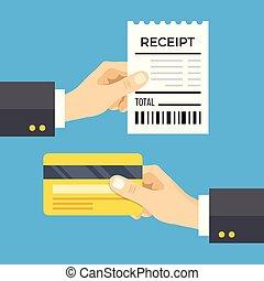 μπλε , διαμέρισμα , cashless , card., concept., απόδειξη , απομονωμένος , εικόνα , χέρι , πιστώνω , μικροβιοφορέας , σχεδιάζω , φόντο , κράτημα , πληρωμή