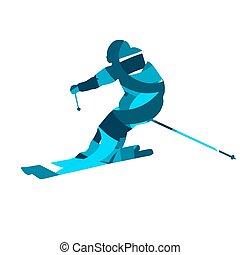 μπλε , διαμέρισμα , skier., αφαιρώ , περίγραμμα , μικροβιοφορέας , σχεδιάζω , κατηφορικός
