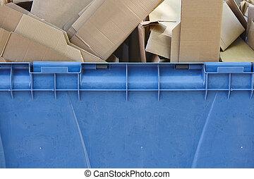 μπλε , δοχείο , ανακύκλωση , κουτιά , χαρτί , χαρτόνι