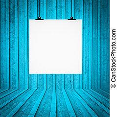 μπλε , δωμάτιο , τοίχοs , κενό , retro , απαγχόνιση , πίνακας