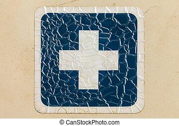 μπλε , εικόνα , σταυρός , επιγραφή , retro , αιχμηρή απόφυση , ραγισμένος