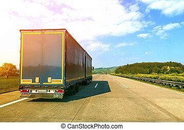 μπλε , εμπορεύματα ανοικτή φορτάμαξα , επάνω , ένα , αδειάζω , αυτοκινητόδρομος