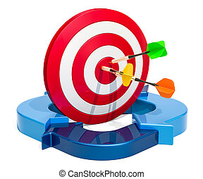 μπλε , επιχείρηση , επιτυχία , γενική ιδέα , απόδοση , arrows., στόχος , 3d