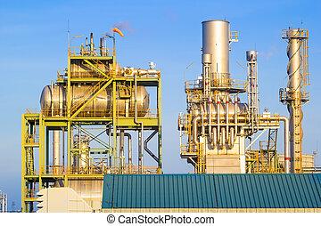 μπλε , εργοστάσιο , hrsg, δύναμη , deaerator, ουρανόs , μηχανή , φόντο.