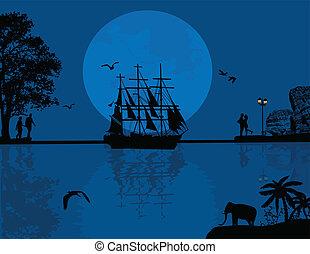 μπλε , ηλιοβασίλεμα , με , βάρκα , και , ζευγάρι