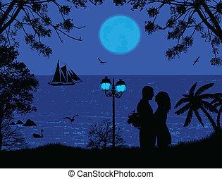 μπλε , θάλασσα , ηλιοβασίλεμα , με , ζευγάρι , απεικονίζω σε σιλουέτα