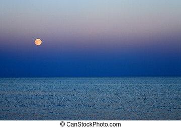 μπλε , θάλασσα , φεγγάρι , επάνω , σούρουπο , ανατέλλω , κόκκινο
