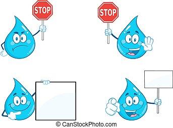 μπλε , θέτω , σταγόνα , συλλογή , νερό , 4