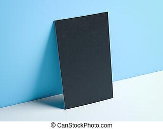 μπλε , κάθετος , επιχείρηση , απόδοση , μαύρο , studio., κάρτα , 3d