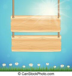 μπλε , καλοκαίρι , λουλούδι , ξύλινος , ηλιόλουστος , αναχωρώ ταμπλώ , φόντο , μαργαρίτα , γρασίδι