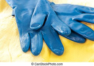 μπλε , καουτσούκ γάντι