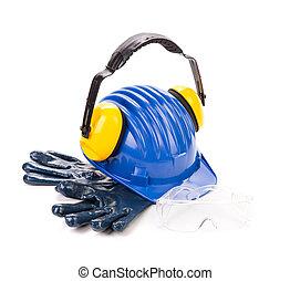 μπλε , κράνος , ασφάλεια , ακουστικά