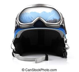 μπλε , κράνος , snowboard , μεγάλα ματογυαλιά