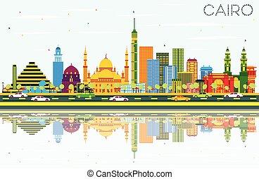 μπλε , κτίρια , αίγυπτος , κάιρο , ουρανόs , χρώμα , γραμμή ορίζοντα , reflections.